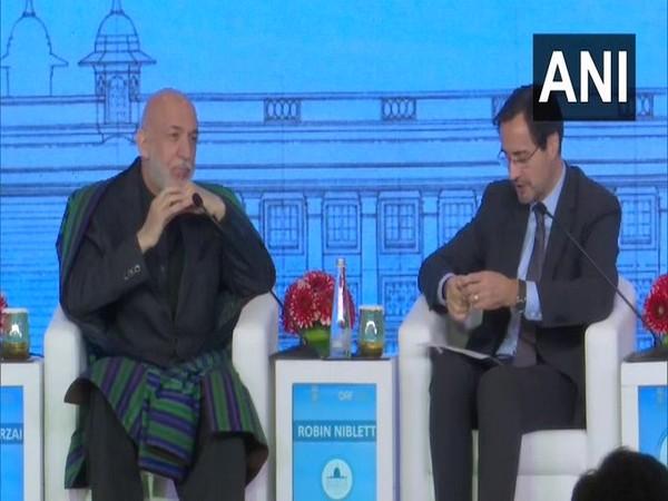 Former Afghanistan President Hamid Karzai speaking at Raisina Dialogue 2020 in New Delhi on Thursday.