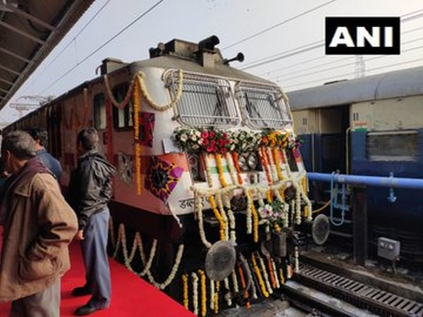The flagged off Ahmedabad-Mumbai Tejas Express at Ahmedabad Railway Station on Friday.