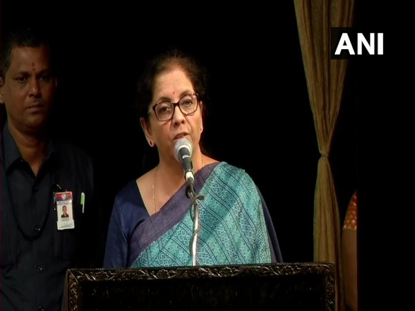 Finance Minister Nirmala Sitharaman speaking at an event in Chennai on Sunday. Photo/ANI