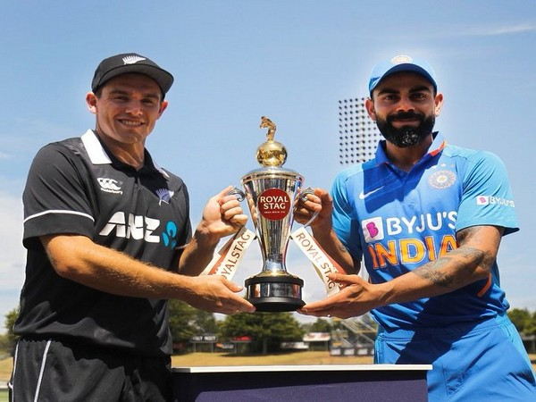 Tom Latham and Virat Kohli with the ODI series trophy (Photo/ BCCI Twitter)