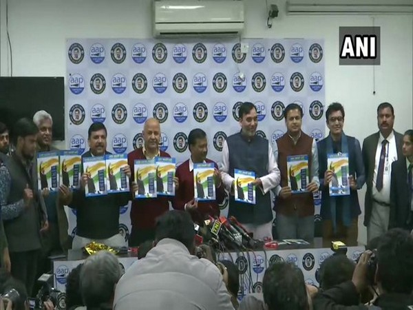 AAP releases manifesto for upcoming Delhi assembly election 2020 here on Tuesday. Photo/ANI