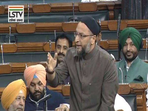 Asaduddin Owaisi speaking in Lok Sabha on Tuesday. (Photo- LS TV]