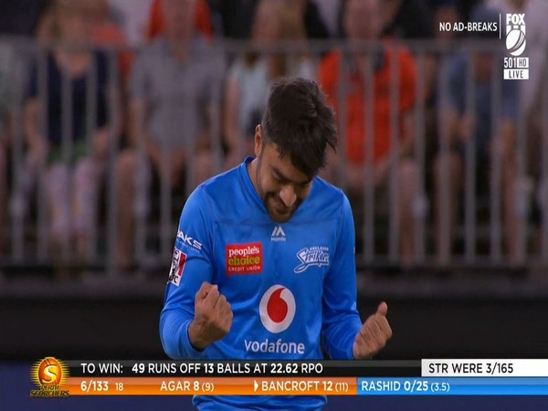 Adelaide's Rashid Khan in action against Perth Scorchers. (Photo/ Adelaide Strikers Twitter)