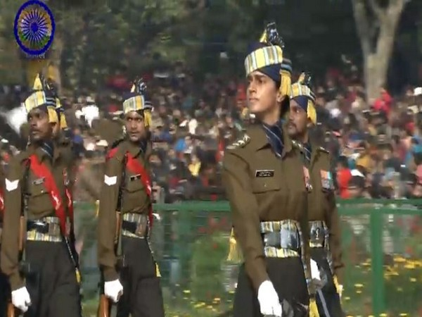 Captain Tanya Shergil leading the marching contingent of the Corps of Signals at Rajpath in New Delhi on Sunday. (Picture courtesy: DD)