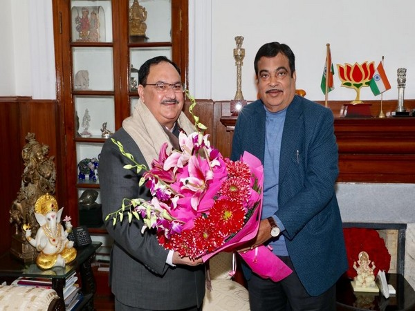 JP Nadda met Nitin Gadkari on Sunday in Delhi. Photo/ANI