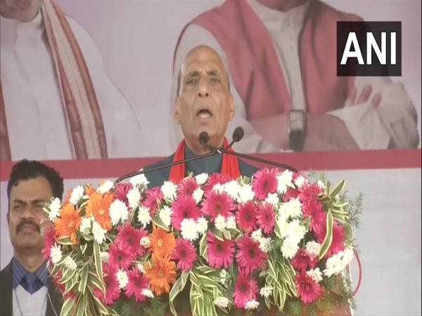 Defence Minister Rajnath Singh addressing a gathering in Mangaluru on Monday.