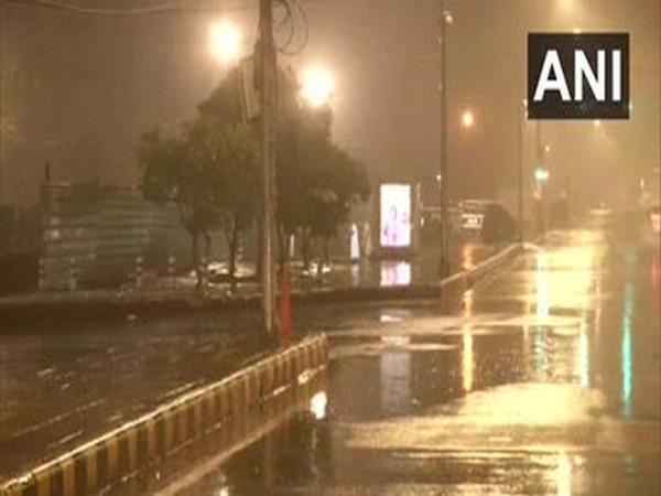 Delhi: Rain lashes parts of the city; visuals from Krishi Bhawan. [Photo/ANI]