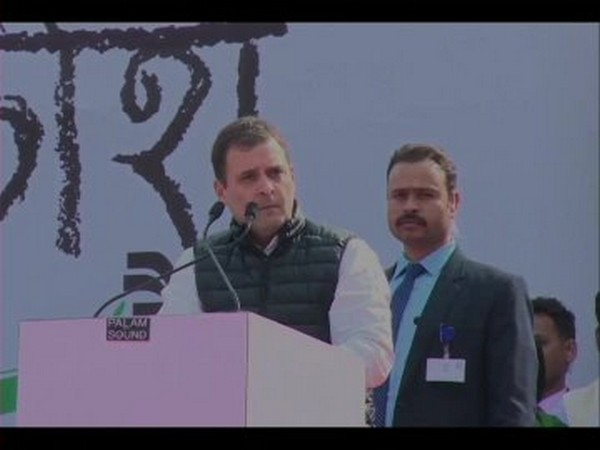 Rahul Gandhi addresses Yuva Aakrosh rally in Jaipur on Tuesday [Photo/ANI]