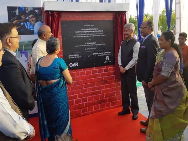 Jaishankar lays foundation stone of Sardar Patel Centre for Empowerment and Livelihood at Kevadia. (Photo tweeted by EAM S Jaishankar)