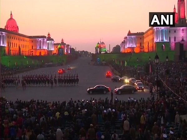 Delhi: Tricolour lighting illuminates North and South Blocks at Raisina Hill, after conclusion of Beating Retreat.
