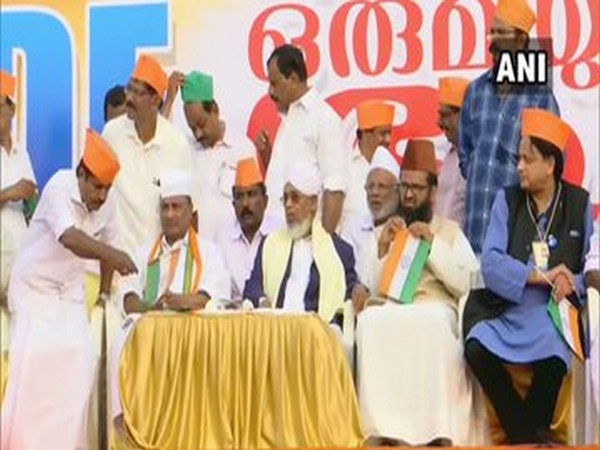 Congress leaders Shashi Tharoor and AK Antony were also present during the protest.