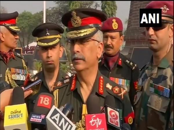 Army chief General Manoj Mukund Naravane speaking to media in Pune on Saturday. Photo/ANI