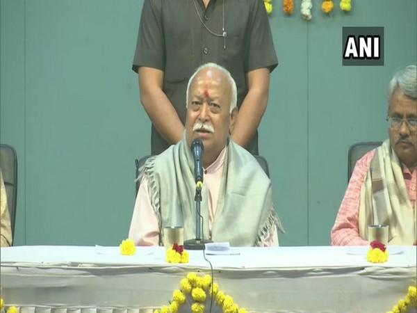 RSS Chief Mohan Bhagwat addressing a gathering in Gujarat on Saturday. Photo/ANI