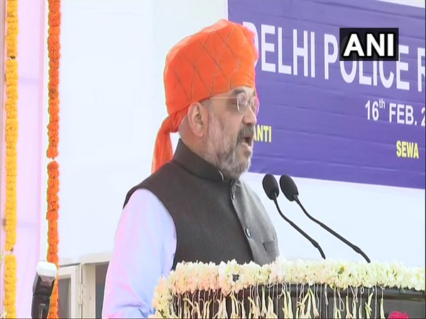 Union Home Minister Amit Shah addressing 73rd Raising Day Parade of Delhi Police in the national capital on Sunday. Photo/ANI