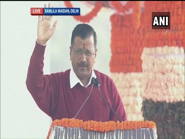 Delhi CM Arvind addressing a massive gathering at Delhi's Ramlila Maidan on Sunday.