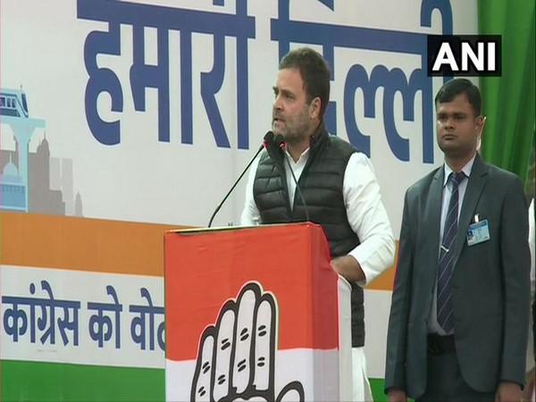 Congress leader Rahul Gandhi addressing a gathering in New Delhi on Wednesday.