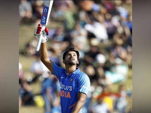 Shreyas Iyer celebrates after scoring his maiden century (Photo/ Shreyas Iyer Twitter)