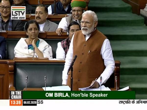 Prime Minister Narendra Modi speaking in Lok Sabha on Thursday. (Picture courtsey: LSTV)