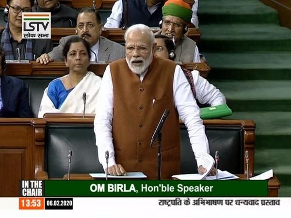 Prime Minister Narendra Modi addressing the Lok Sabha on Thursday. Photo/ANI