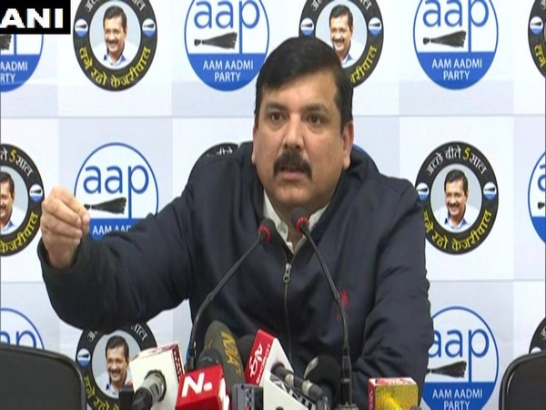 AAP leader Sanjay Singh addressing a press conference in New Delhi on Sunday. Photo/ANI