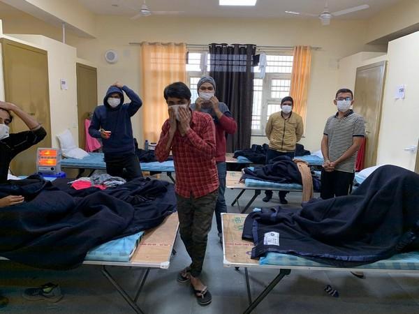 Wuhan returnees at Chhawla quarantine facility of ITBP in Delhi. Photo/ANI