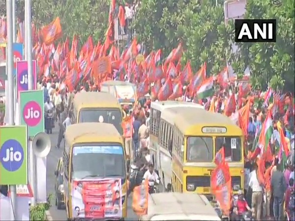 MNS workers take out massive rally in Mumbai on Sunday. [Photo/ANI]