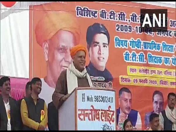 BJP MP Virendra Singh Mast speaking at a public meeting in Ballia on Sunday. Photo/ANI