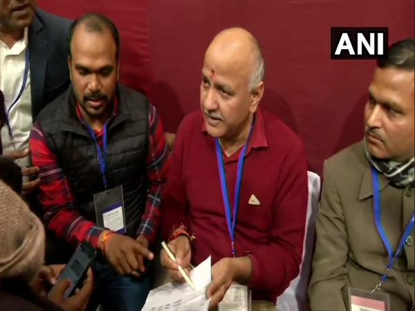 Manish Sisodia at the vote counting centre in Akshardham on Tuesday.