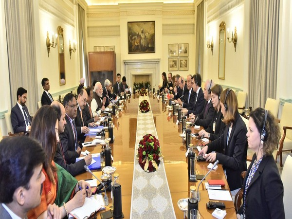 PM Modi at delegation-level talks with Portuguese President Marcelo Rebelo De Sousa in New Delhi on Friday