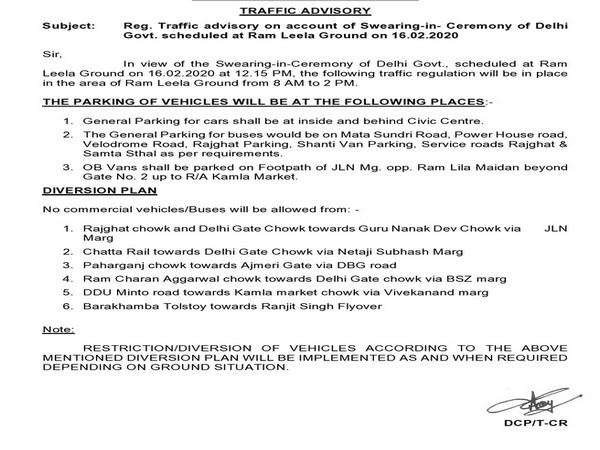 The Delhi Traffic Police issued an advisory a day ahead of the swearing-in ceremony of Chief Minister-designate Arvind Kejriwal at Ramlila Maidan.