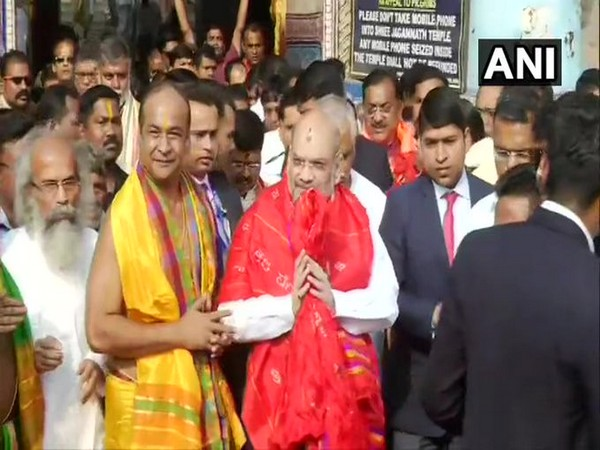 Union Home Minister Amit Shah on Saturday arrived at Shree Jagannath Temple to offer prayers. Photo/ANI