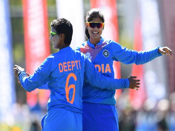 Indian spinner Radha Yadav celebrates with Deepti Sharma after dismissing Sri Lankan batter (Photo/ T20 World Cup Twitter)