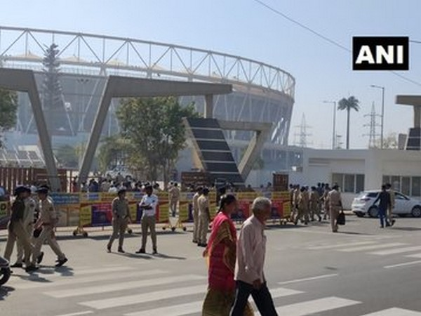 The security has been tightened outside Motera Stadium ahead of Trump's Ahmedabad visit. Photo/ANI
