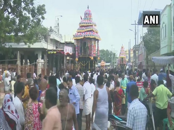 Devotees indulging in the annual chariot procession on Saturday