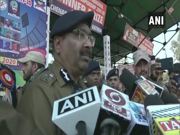 Jammu and Kashmir DGP Dilbag Singh speaking to media in Kathua on Sunday. Photo/ANI