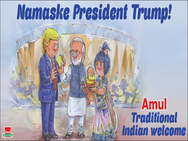 Amul cartoon welcoming US President Donald Trump (Image Source: Amul Coop Twitter)