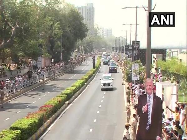 President Donald Trump and Prime Minister Narendra Modi's convoy heading towards Motera Stadium on Monday