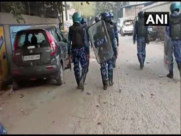 Visulas of security officials in Brahampuri area on Monday. Photo/ANI