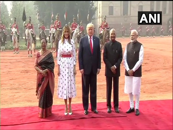US President Donald Trump accorded ceremonial welcome at Rashtrapati Bhavan in the national capital on Tuesday