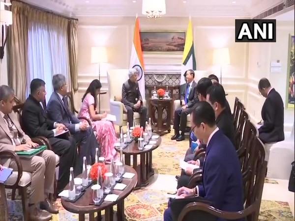Myanmar President U Win Myint and External Affairs Minister S Jaishankar in Delhi on Thursday. Photo/ANI