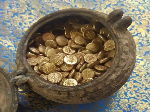 505 gold coins found while digging the ground at the Jambukeswarar Temple in Thiruvanaikaval in Tamil Nadu on Wednesday. Photo/ANI