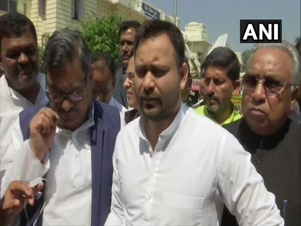 RJD leader Tejashwi Yadav speaking to reporters on Wednesday. Photo/ANI