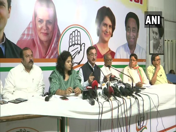 MP Congress leaders during a press conference on Thursday.