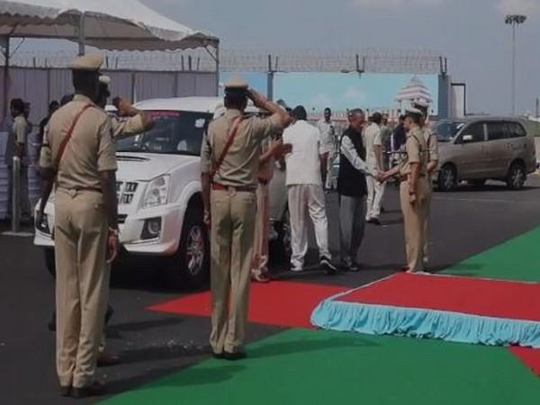 Governor ESL Narasimhan reached Vijaywada on Monday evening (Photo/ANI)