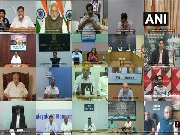 Prime Minister Narendra Modi interacting with print media heads via video conference on Tuesday (Photo/ANI)