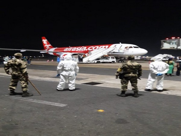 113 passengers were brought back from Malaysia on board Air Asia flight to Chennai on Monday [Photo/ANI]