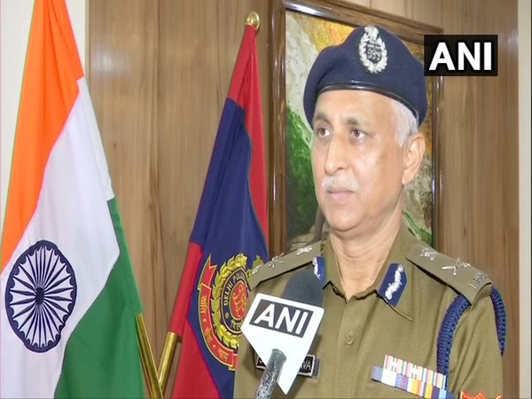 Delhi Police Commissioner SN Shrivastava speaking to reporters on Tuesday. Photo/ANI
