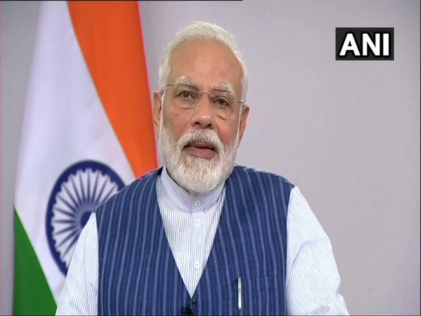 Prime Minister Narendra Modi during an interaction with the people of Varanasi via video conference on Wednesday. Photo/ANI