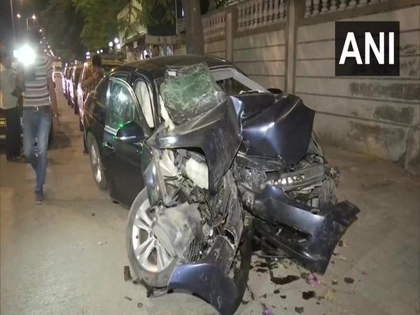 Three people died and one sustained injuries after a speeding car rammed into a divider in Worli area on Friday. Photo/ANI