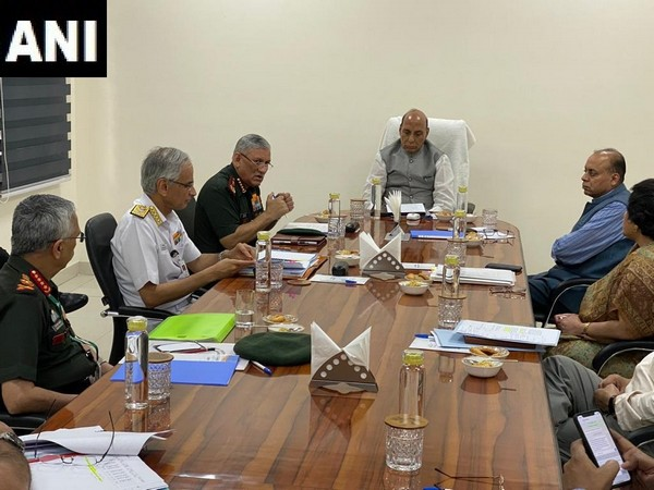 Defence Minister Rajnath Singh chairing the review meeting. Photo/ANI